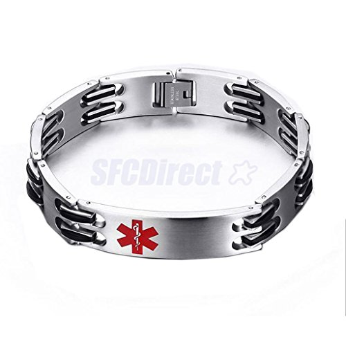 New Stainless Steel Medical Alert ID Bracelet Wristband Bangle Mens Jewelry by sfcdirect