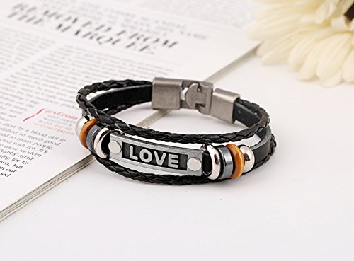 Fashion LOVE Words Black Braided Metal Wood Wrist Bracelet (Victorian Man Figurine)