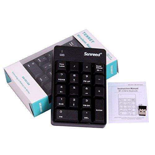 Sunreed Numeric Keypad, Full-size 18 Keys Wireless Mini USB Number Pad Keyboard with 2.4G Numeric USB Receiver for Laptop Desktop PC Notebook by Sunreed (Image #6)