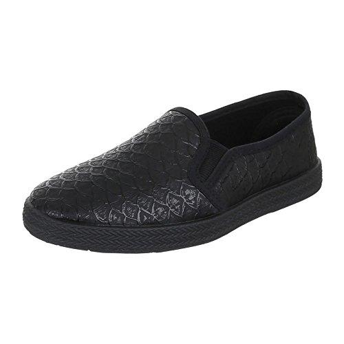 Ital-Design Kinder Schuhe, 946-1, Ballerinas Slipper Schwarz