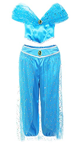 Jurebecia Princess Jasmine Dress Up for Girls Arabian Costume Halloween Theme Party Role Play Outfit Blue Size 4T]()