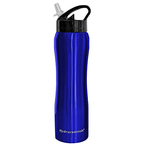 Hydracentials Stainless Steel Insulated Water Bottle With Straw 25Oz Double Wall Wide Mouth Vacuum Insulation Design  Blue