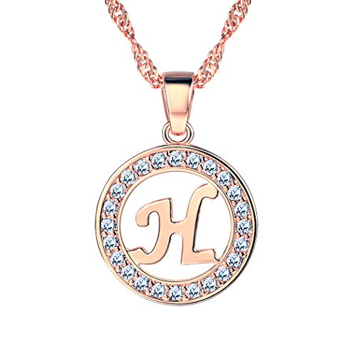 Suplight Initial Letter H Necklace Pendant Rose Gold Plated CZ Letter Charm for Women/Girls