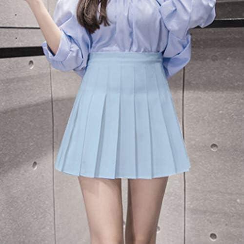 Damen Slim Bodycon Hohe Taille Minirock Einfarbig Skater Flared Faltenrock Candy