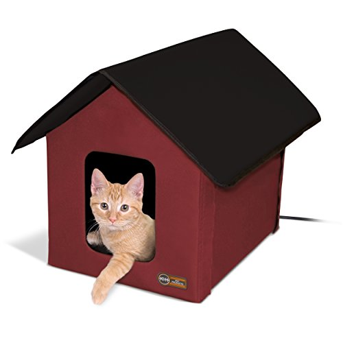 K&H Manufacturing Outdoor Kitty House, 18 x 22 x 17-Inches, Heated - Barn Red/Black ()