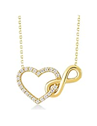 Gelin 14k Real Yellow Gold CZ Infinity and Heart Connected Pendant Chain Necklace - Women Fine Jewellery for Valentine's Day, 18 inch