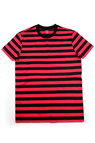 - Zengjo Essential Stripes T-Shirts Comfort Short-Sleeve Crew-Neck Striped Tee Top (XL, Black&Red WD)