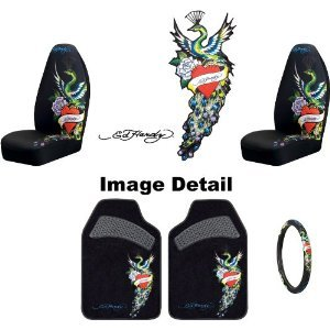 Ed Hardy Pea 5-pc Set Bucket Seat Covers, Front Floor Mats ...
