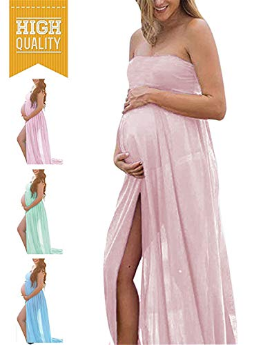 Maternity Summer Off Shoulder Tube Chiffon Gown Split Front Maxi Photography Dresses for Photo Shoot (B-Beige) (Best Time For Pregnancy Photos)
