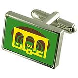 Amman City Jordan Sterling Silver Flag Cufflinks Engraved Box