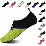 Mens Womens Water Shoes Barefoot Beach Pool Shoes Quick-Dry Aqua Yoga Socks for Surf Swim Water Sport (Black Green, 38/39EU) Larger Image