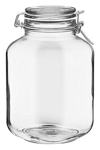 Bormioli Rocco Fido Square Clear Jar, 101.50-Ounce