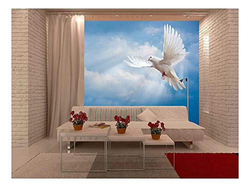 wall26 - Dove in The Air with Wings Wide Open in-Front of The Sun - Removable Wall Mural | Self-Adhesive Large Wallpaper - 100x144 inches ()