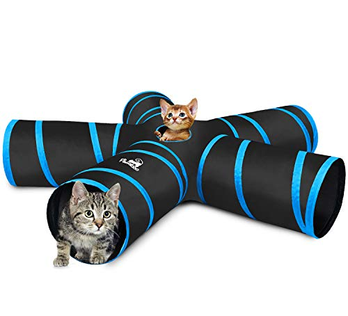 Pawaboo Cat Tunnel, Premium 5 Way Tunnels Extensible Collapsible Cat Play Tunnel Toy Maze Interactive Tube Toy Cat House with Pompon and Bells for Cat Puppy Kitten Rabbit, Black & Light Blue