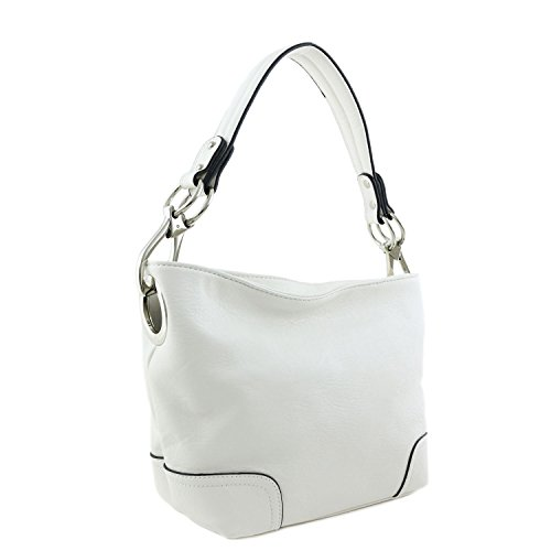 Small Hobo Shoulder Bag with Snap Hook Hardware White by Alyssa