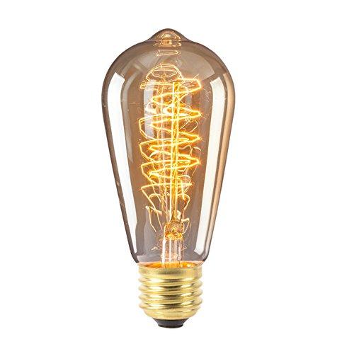 Cheap Vintage Edison Bulb, 40W Incandescent Industrial Bulb Antique Retro Lamp Light 210 Lumens E27 Squirrel Cage Filament Light Bulb (ST64A) (40)