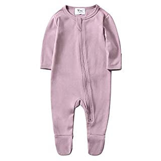 O2Baby Baby Boys Girls Organic Cotton Zip Front Sleeper Pajamas, Footed Sleep 'n Play(3-6Months,Mauve Orchid)