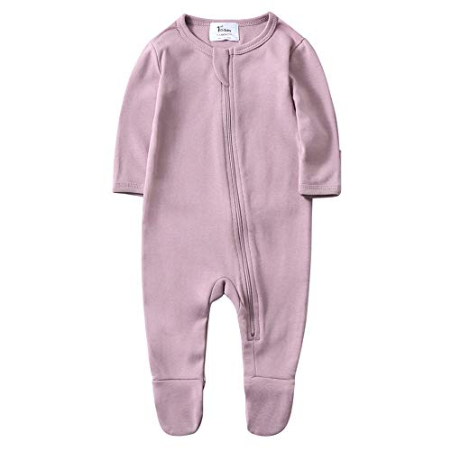 O2Baby Baby Boys Girls Organic Cotton Zip Front Sleeper Pajamas, Footed Sleep 'n Play(12-18Months,Mauve Orchid) Cotton Footed Sleeper Pajamas