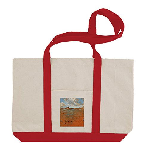Venetian Scene (Whistler) Cotton Canvas Boat Tote Bag Tote - Red (Scene Venetian)