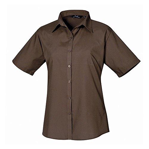 Chemisier courtes manches en femme chemise Coloris Marron uni Femmes pour Marron popeline 7xdqwpg