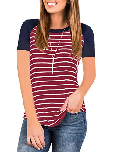 EZBELLE Womens Summer Loose Striped Raglan Short Sleeve Baseball T Shirt Tunic Tops Burgundy Navy Medium (Navy Raglan Baseball Tee)