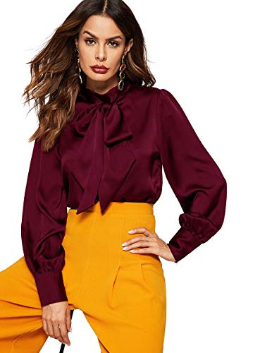 (Romwe Women's Satin Bishop Sleeve Bow Tie Neck Casual Office Work Blouse Shirts Tops Burgundy XS)