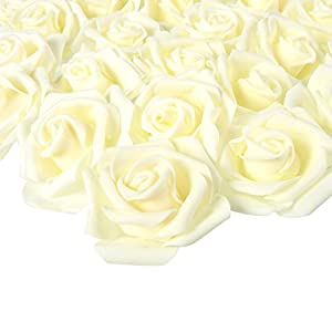 Juvale Rose Flower Heads – 100-Pack Artificial Roses, Perfect Wedding Decorations, Baby Showers, Crafts – Off White, 3 x 1.25 x 3 inches