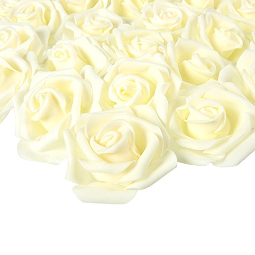 - Juvale Rose Flower Heads - 100-Pack Artificial Roses, Perfect Wedding Decorations, Baby Showers, Crafts - Off White, 3 x 1.25 x 3 inches