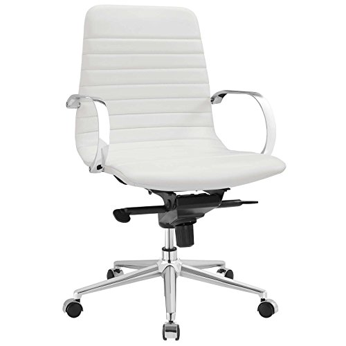 Modway EEI-2859-WHI Groove Ribbed Back Faux Leather Office Chair, White For Sale