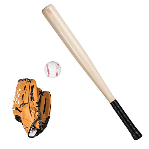 Wooden Baseball Bat Anti Skid Baseball Glove Durable Baseball Safety Sports Toy Set for Kids Children Toddler Boy Gifts