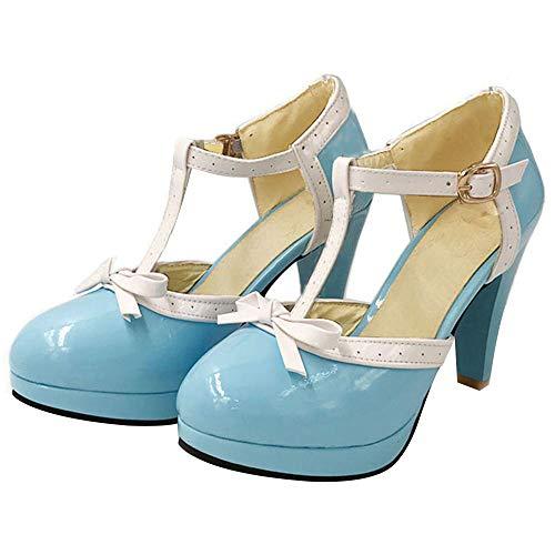 Platform Shoes Vintage - Vitalo Women's High Heel Platform Pumps with Bows Vintage T Bar Court Shoes Size 7.5 B(M) US,Sky Blue