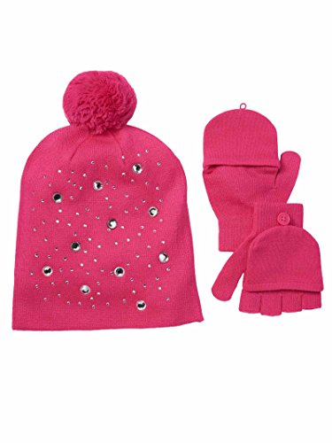 SO Girls Sparkly Hat & Convertible Mittens Set (Small 4-7, (Jeweled Shopper)