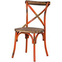 Adeco 2016 NEW Metal Chair with Cross Style Back, Orange