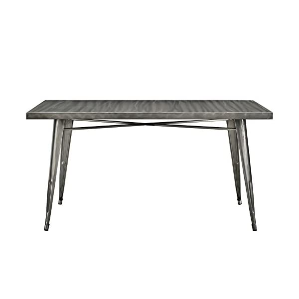 "Modway Alacrity 60"" Rustic Modern Farmhouse Stainless Steel Metal Rectangle Dining Table in Gunmetal"