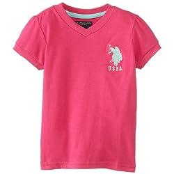 U.S. POLO ASSN. Little Girls' V-Neck Puff Sleeve T-Shirt