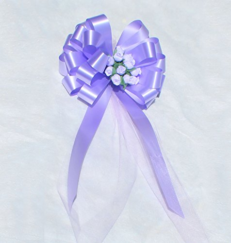 Lavender Wedding Pull Bows with Tulle Tails and Rosebuds - 8