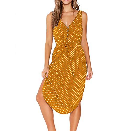 WEEPINLEE Women's Summer V Neck Sleeveless Polka Dot Print Sundresses Dress with Pockets (Yellow,S)