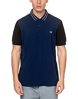 Men's Textured Colour Block Men's Blue Polo Shirt in Size L Blue