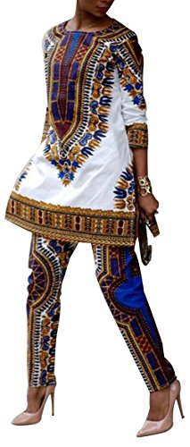 Evesymil Women African Print Ethnic Dashiki Top Pants Outfit Two 2 Pieces Set Print (African Outfit)