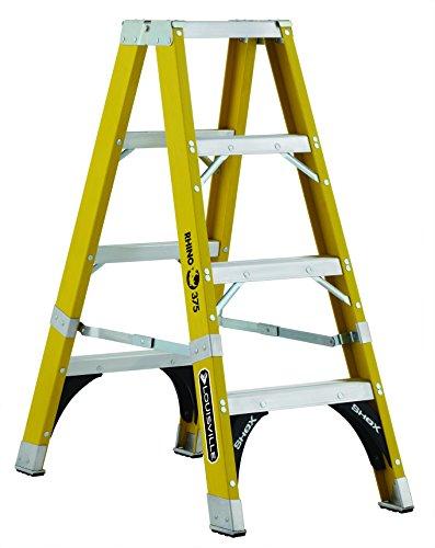 Louisville Ladder FM1104HD 375-Pound Duty Rating Fiberglass Rhino Twin Front Ladder, 4-Foot