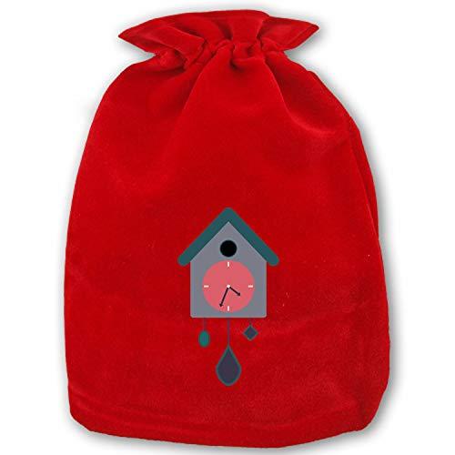 Clock Cuckoo Pendulum Weight Santa Sack Bags, Christmas Drawstring Goodie Bags