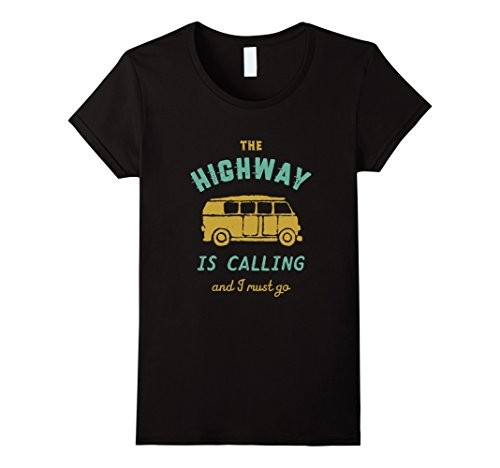 Womens Vintage Road Trip Travel T-shirt The Highway Is Calling Small - Road Ladies Trip