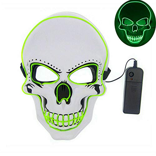Tagital Halloween Mask LED Light Up Scary Skull Mask Costume Cosplay EL Wire Halloween Party (Green)