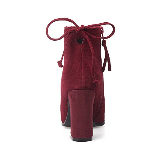 Girls Heels Winkle Frosted Chunky Zipper BalaMasa Boots Pinker Claret d4EqdF