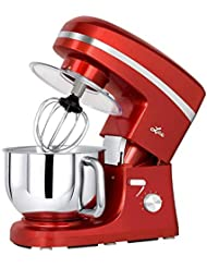 Litchi Stand Mixer, 5.5 Qt. Kitchen Mixer, 650W 6 Speed Tilt-Head Stand Mixers with Splash Guard, Stainless Steel Bowl, Beaters, Whisk, Dough Hook, Red