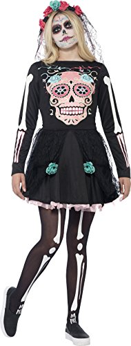 Cat Girl Costume Child Uk (Smiffy's Teen Girls' Sugar Skull Sweetie Costume, Dress and Headpiece, Halloween, Size S, Ages 14+, 44341)