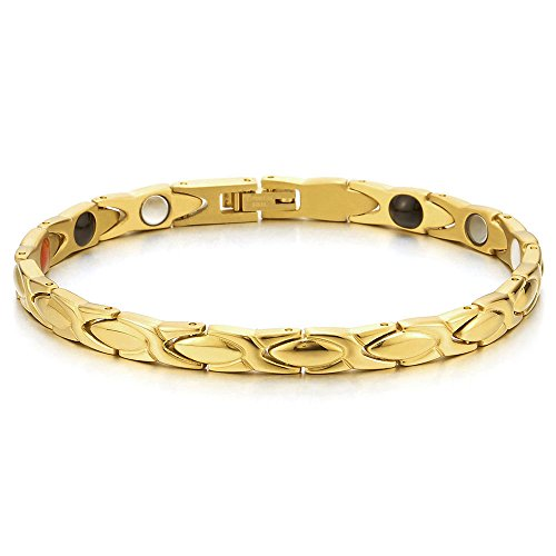 COOLSTEELANDBEYOND Ladies Mens Steel Gold Color Magnetic Bracelet with Magnet Germanium, Free Link Removal Kit