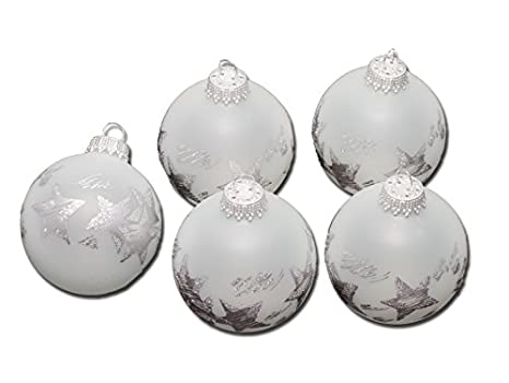 Christbaumkugeln Perlmutt.Krebs Sohn 6390 5 Christbaumkugeln Glas Frost Ice Silber Sterne O5cm 5 Stuck B3 16