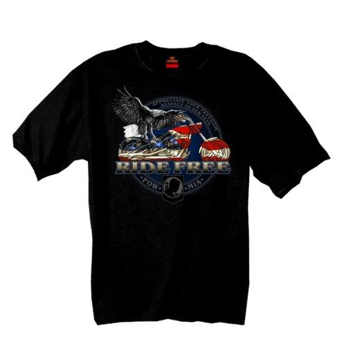 Hot Leathers - playera con bandera de Bicicleta (1% algodón, impresión de doble cara), Negro, XX-Large