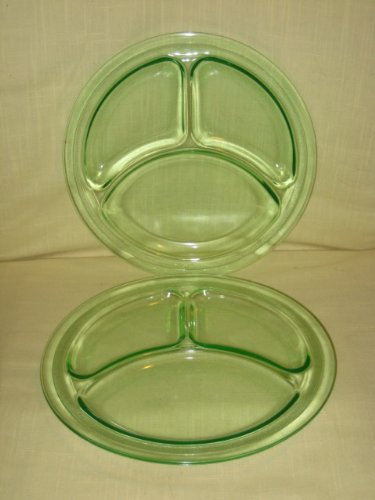 Green Depression Glass Plate (Lot of 2 - Vintage